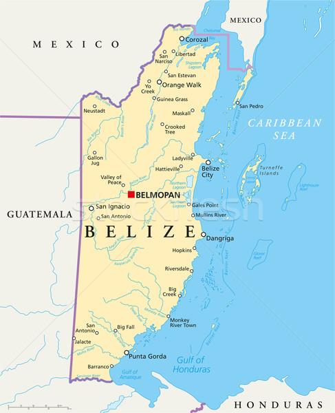 Belize politikai térkép keretek fontos városok Stock fotó © PeterHermesFurian