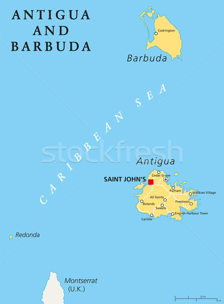Antigua and Barbuda Political Map Stock photo © PeterHermesFurian