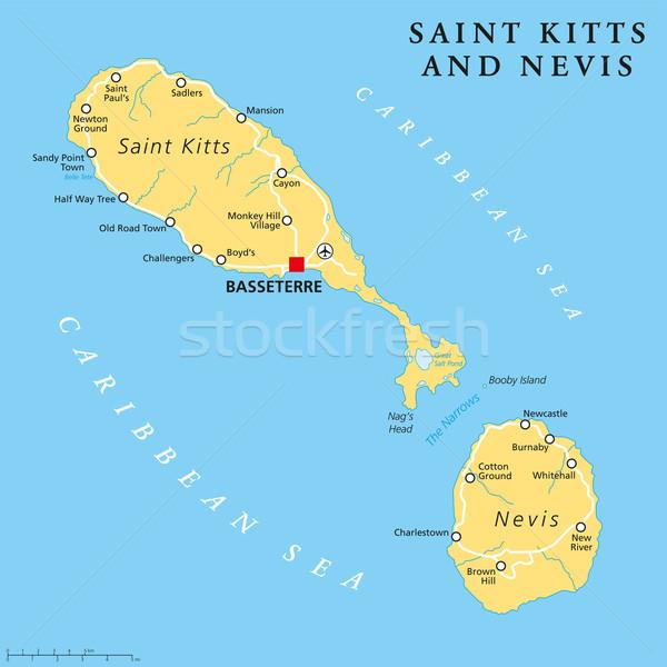 Saint Kitts and Nevis Political Map Stock photo © PeterHermesFurian