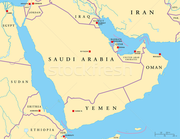 árabe península político mapa Foto stock © PeterHermesFurian