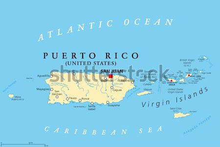 Caribbean - Large And Lesser Antilles - Political Map Stock photo © PeterHermesFurian