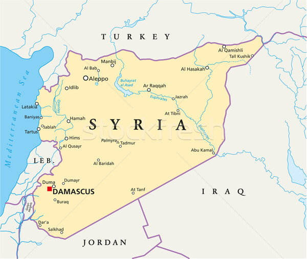Síria político mapa importante cidades Foto stock © PeterHermesFurian