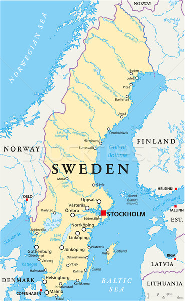 Sweden Political Map Stock photo © PeterHermesFurian