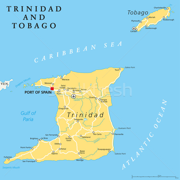Trinidad and Tobago Political Map Stock photo © PeterHermesFurian