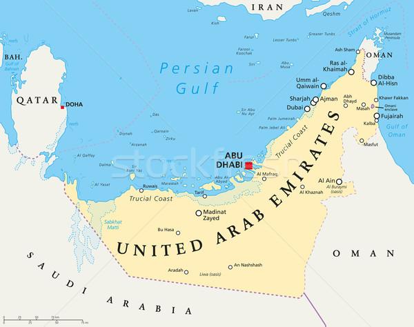 Egyesült Arab Emírségek politikai térkép Abu Dhabi keretek fontos Stock fotó © PeterHermesFurian