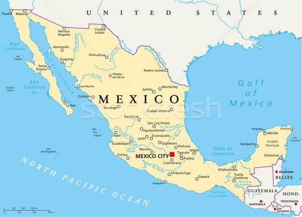 Mexikó politikai térkép Mexikóváros keretek fontos Stock fotó © PeterHermesFurian