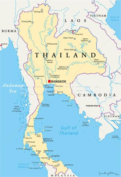 Thailand Political Map Stock photo © PeterHermesFurian