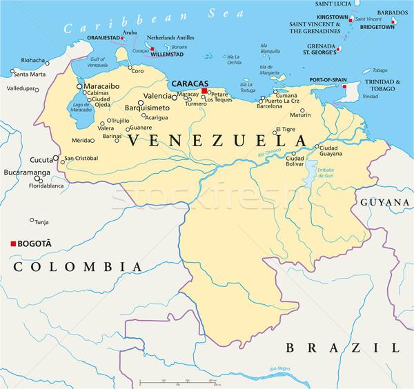ストックフォト: ベネズエラ · 政治的 · 地図 · カラカス · 重要