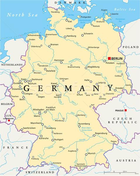 Németország politikai térkép Berlin keretek fontos Stock fotó © PeterHermesFurian