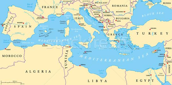 Akdeniz deniz bölge siyasi harita etrafında Stok fotoğraf © PeterHermesFurian