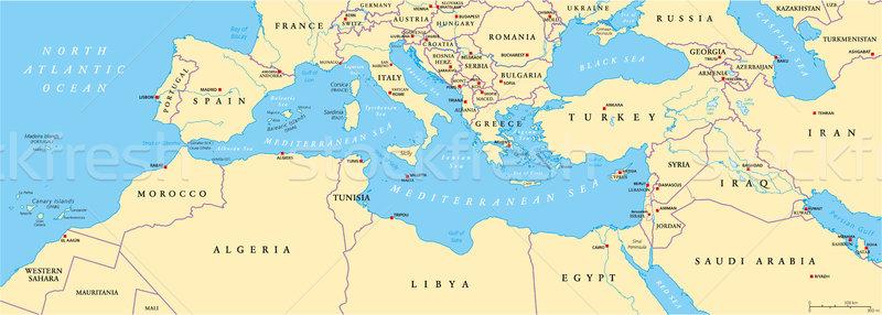 Mediterranean Basin Political Map Stock photo © PeterHermesFurian