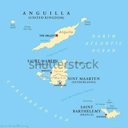 Caribbean eilanden politiek kaart rivieren Stockfoto © PeterHermesFurian