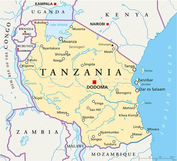 Tanzania Political Map Stock photo © PeterHermesFurian