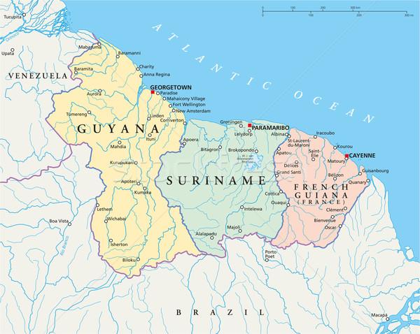 Гайана Суринам французский политический карта кайенский перец Сток-фото © PeterHermesFurian