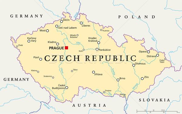 Tsjechische Republiek politiek kaart Praag belangrijk Stockfoto © PeterHermesFurian