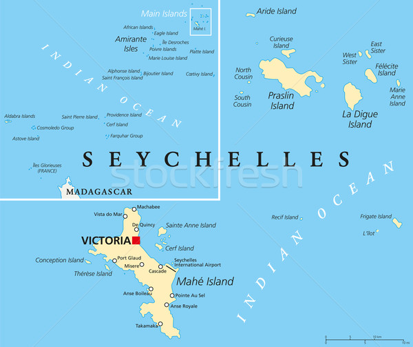 Seychelles politico mappa importante città Foto d'archivio © PeterHermesFurian