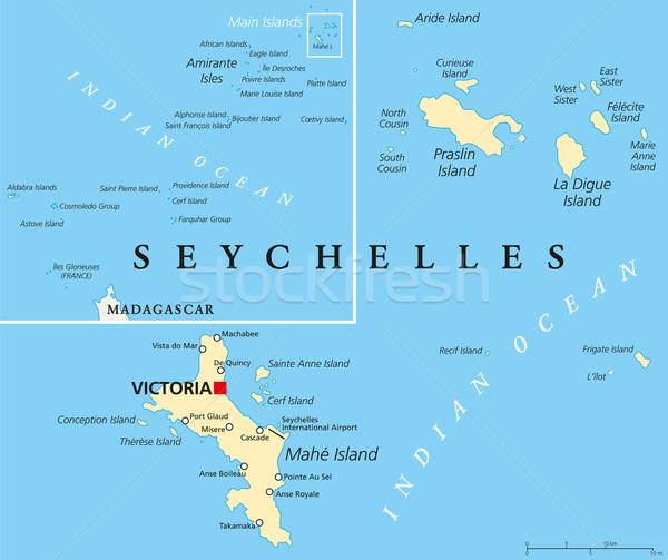 Seychelles Political Map Stock photo © PeterHermesFurian
