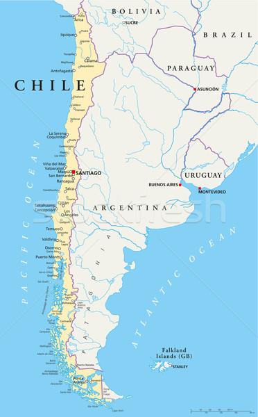 Photo stock: Chili · politique · carte · Santiago · importante