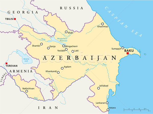 Azerbaijan Political Map Stock photo © PeterHermesFurian