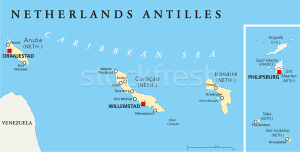 Netherlands Antilles Political Map Stock photo © PeterHermesFurian