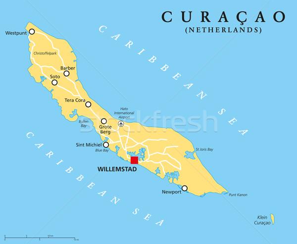 Curacao Political Map Stock photo © PeterHermesFurian