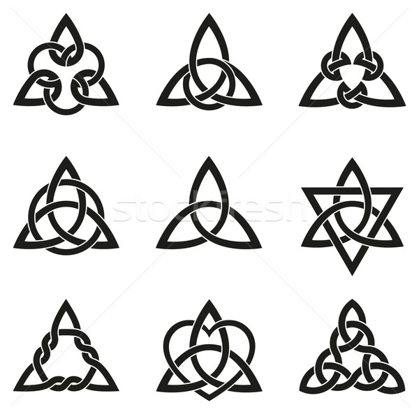 Stock photo: Nine Celtic Triangle Knots