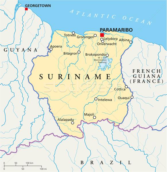 Суринам политический карта важный Сток-фото © PeterHermesFurian