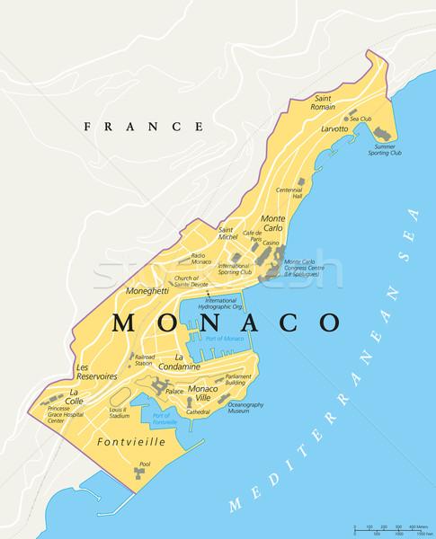 Monaco Political Map Vector Illustration C Peter Hermes Furian
