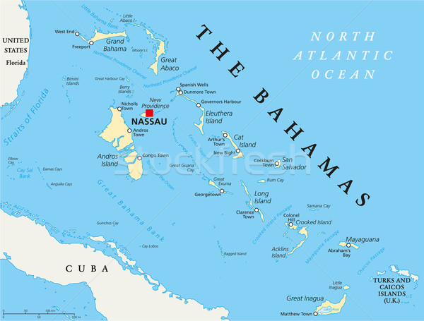 The Bahamas Political Map Stock photo © PeterHermesFurian