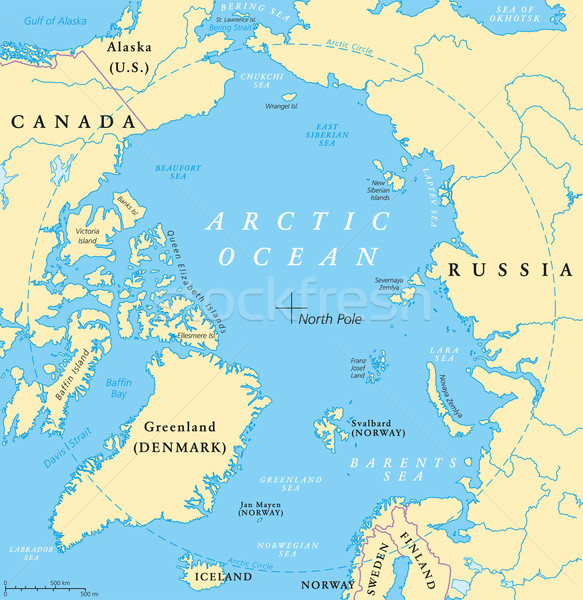 Arctic Ocean Map Stock photo © PeterHermesFurian