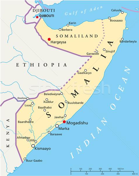 Somalia Political Map Stock photo © PeterHermesFurian