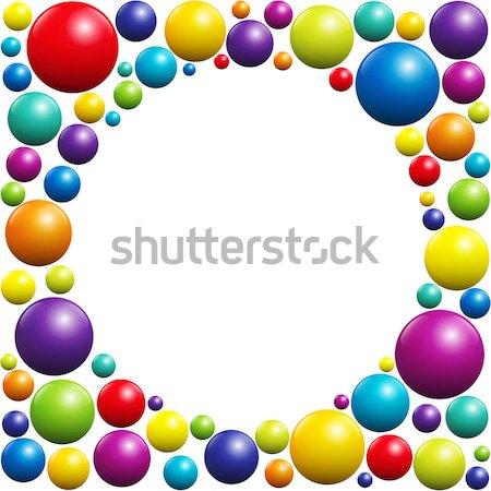 Színes tengerpart golyók kör gyűrű izolált Stock fotó © PeterHermesFurian
