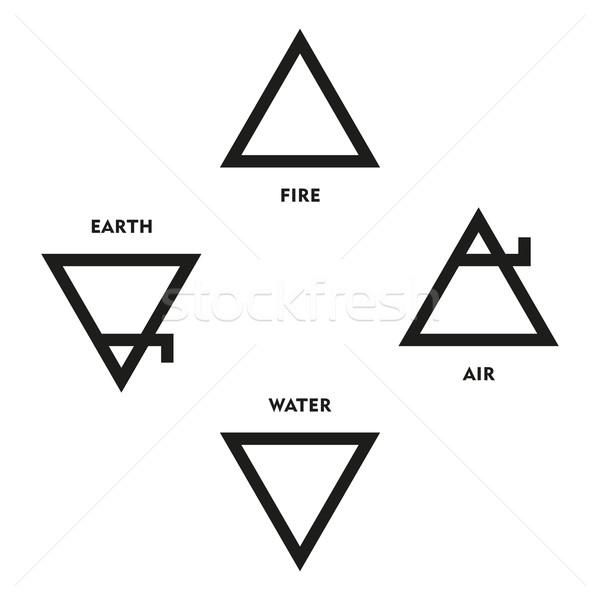 Klasik dört elemanları semboller ortaçağ simya Stok fotoğraf © PeterHermesFurian