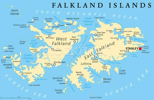 Sziget politikai térkép Falkland-szigetek Egyesült Királyság Argentína Stock fotó © PeterHermesFurian