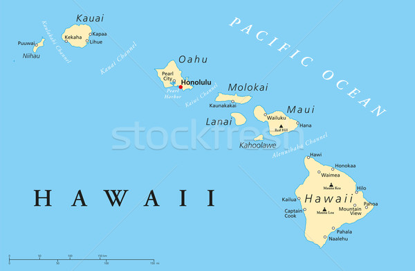 Hawaii Islands Political Map Stock photo © PeterHermesFurian