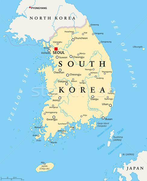 Güney Kore siyasi harita Seul önemli Stok fotoğraf © PeterHermesFurian