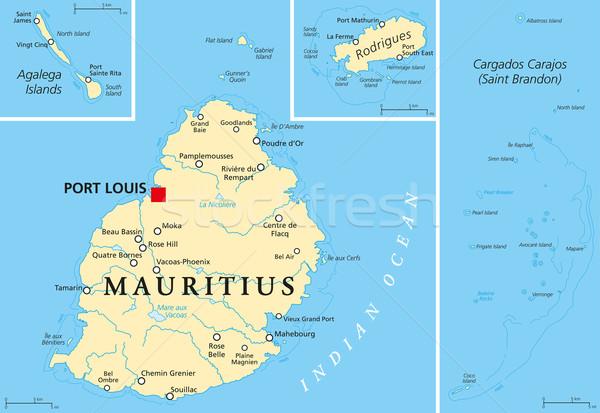 Mauritius siyasi harita liman adalar Stok fotoğraf © PeterHermesFurian