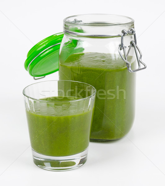 Smoothie vert verre ouvrir jar organique épinards Photo stock © PeterHermesFurian