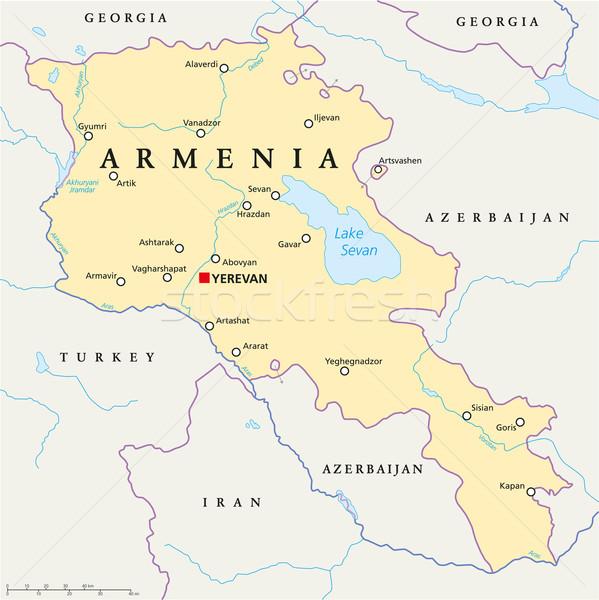 Örményország politikai térkép keretek fontos városok Stock fotó © PeterHermesFurian