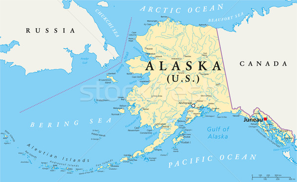 Alaska Political Map Stock photo © PeterHermesFurian
