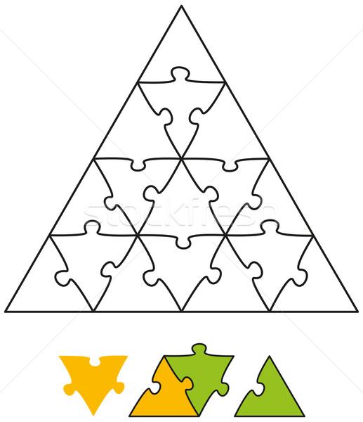 Kirakós játék háromszög űrlap darabok konzerv játék Stock fotó © PeterHermesFurian