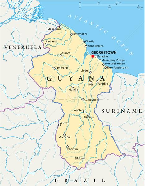 Guyana Political Map Stock photo © PeterHermesFurian