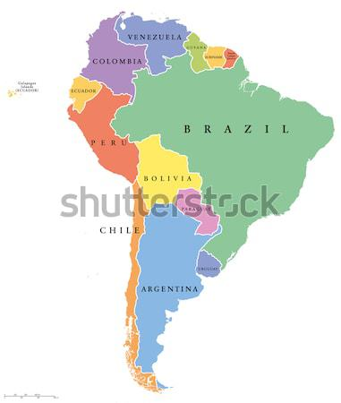 Dél-amerika térkép politikai keretek folyók angol Stock fotó © PeterHermesFurian