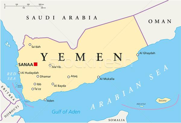 Yemen Political Map Stock photo © PeterHermesFurian