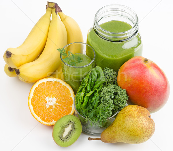 Smoothie vert fruits verre ouvrir jar Photo stock © PeterHermesFurian