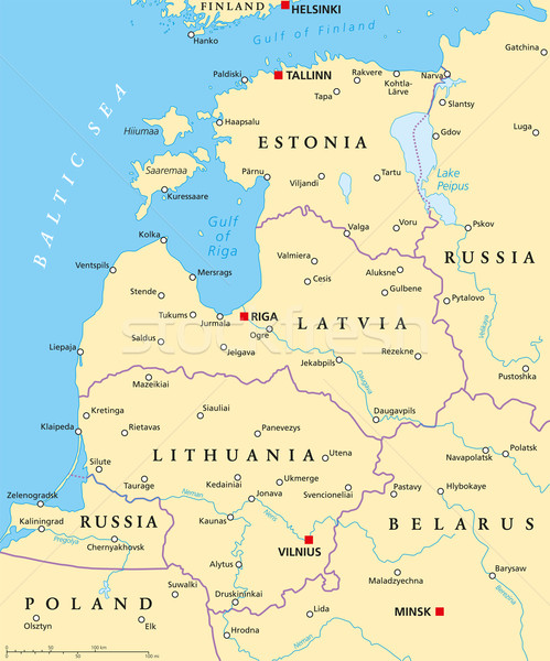 Baltic Countries Political Map Stock photo © PeterHermesFurian