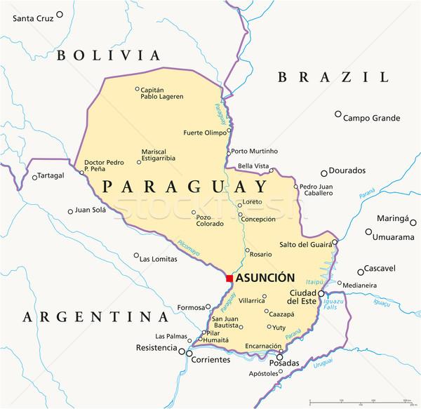 Paraguay politikai térkép keretek fontos városok Stock fotó © PeterHermesFurian