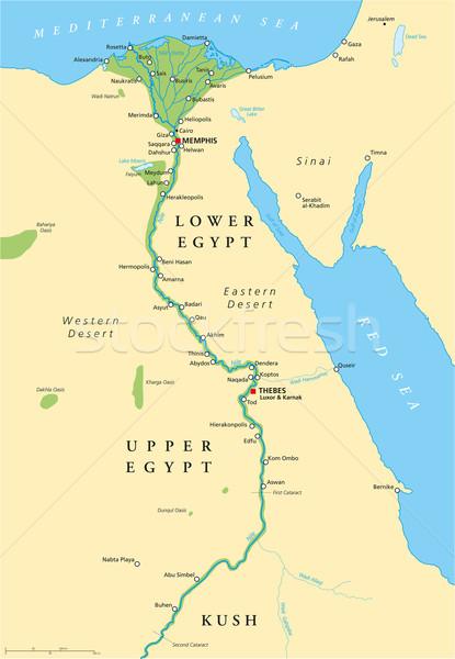 ősi Egyiptom térkép történelmi fontos látnivalók Stock fotó © PeterHermesFurian