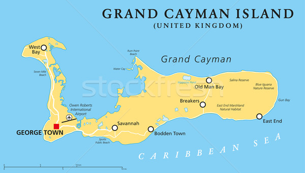 Grand Cayman Island Political Map Stock photo © PeterHermesFurian