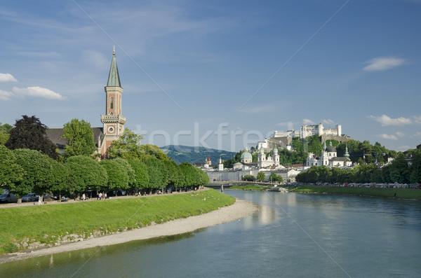 Salzburg City Historic Center And Evangelical Christ Church Stock photo © PeterHermesFurian